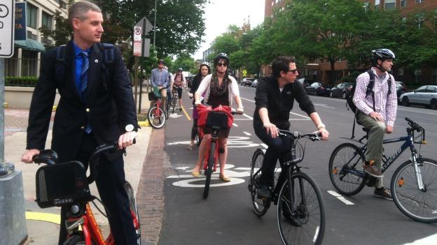 Bicycle backups? With the popularity of bike lanes like the 15th Street cycle track, cycling congestion occurs during rush hours.