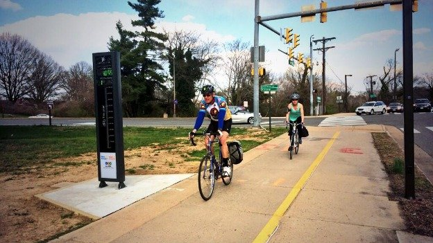 The bike-o-meter on the Custis Trail counts the number of cyclists crossing from Virginia into D.C.