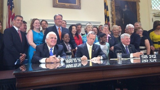 O'Malley signing a bill banning discrimination against transgender residents yesterday in Annapolis.