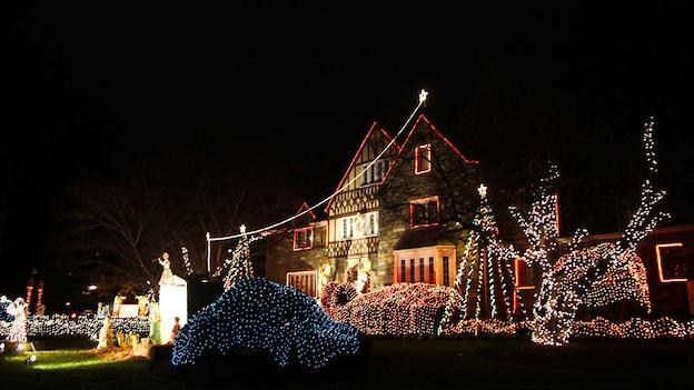 The Christmas lights at the Bishop's house in Northwest D.C.
