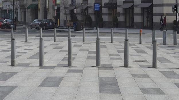 A row of bollards sits on Pennsylvania Avenue in Washington, D.C. northwest.