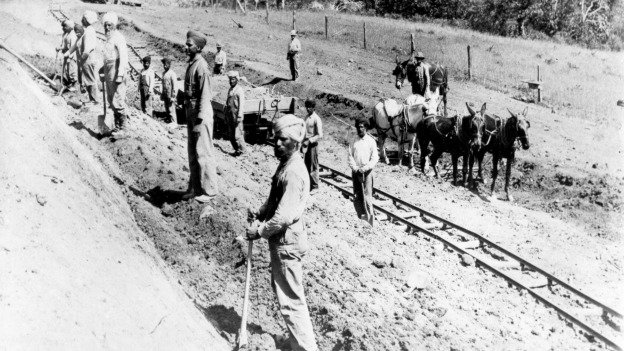 Indian immigrants work on the construction of the  Pacific and Eastern Railroad in Oregon, ca. 1906.