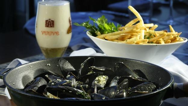 Mussels at Robert Wiedmaier's Brasserie Beck.