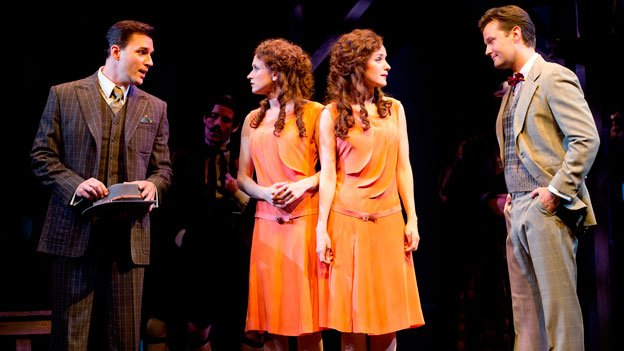 (L to R) Ryan Silverman (Terry Connor), Emily Padgett (Daisy), Erin Davie (Violet) and Matthew Hydzik (Buddy Fo) in The Kennedy Center's production of Side Show.