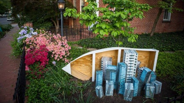 """Building Aground"" by sculptor Rachel Schmidt is just one of 16 contemporary pieces included in Sculpted: Histories Revealed, a public art exhibition in Foggy Bottom."