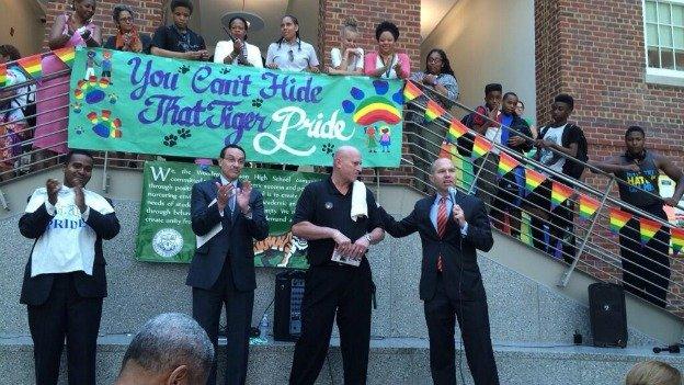 Wilson HS Principal Pete Cahall alongside Mayor Vincent Gray and D.C. Council member David Catania (I-At Large).
