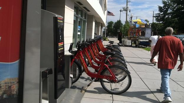 A Capital Bikeshare station sits in the Deanwood neighborhood of D.C.