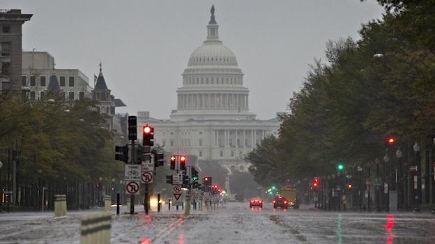 The super storm Sandy sweeps over Pennsylvania Ave. and the U.S. Capitol in Washington, D.C. on Monday, Oct. 29.