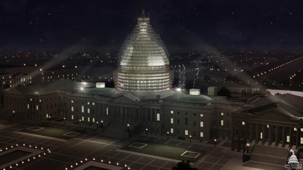 This rendering shows what the U.S. Capitol dome will look like when all the scaffolding is installed.