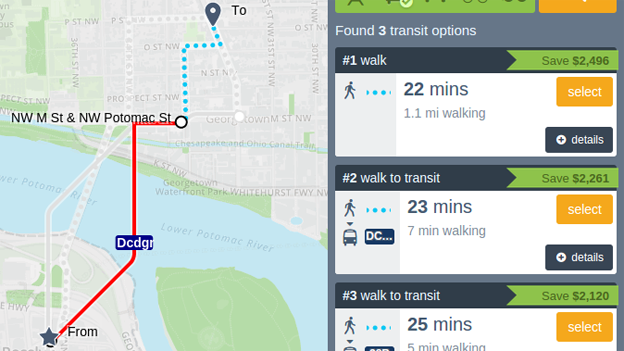 A screenshot of the Web version of the CarFreeAtoZ app.