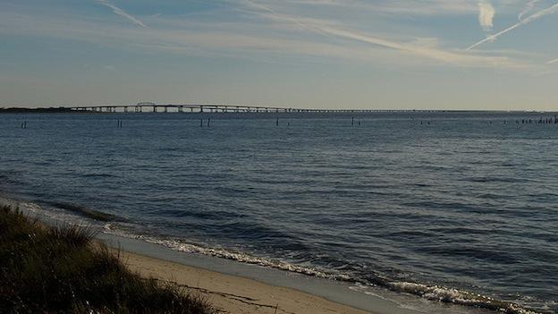 The Chesapeake Bay Bridge shown from a distance.
