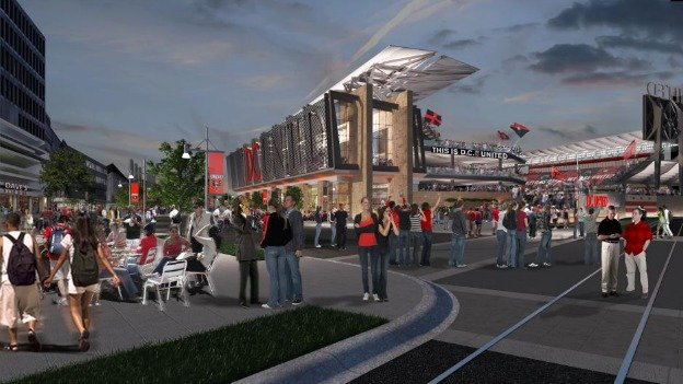 A rendering of the proposed D.C. United stadium in Buzzard Point.