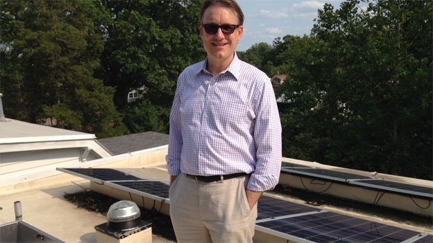 """Brendan Shane, director of policy for the District's Department of the Environment, on his """"cool"""" roof."""