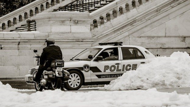 Police in D.C. are among those that don't get a snow day.