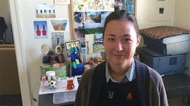 """Artist Jessica Cebra, an artist included in """"Locally Sourced"""" at American University Museum, at her workbench in her Takoma Park home."""