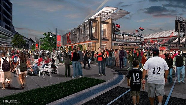 A rendering of the proposed D.C. United stadium at Buzzard Point in Southwest D.C.