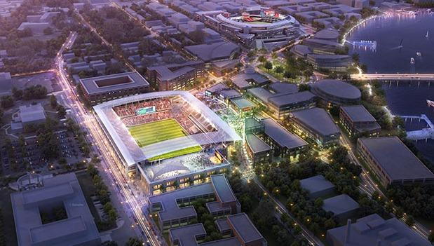 A rendering of the new D.C. United stadium at Buzzard Point.