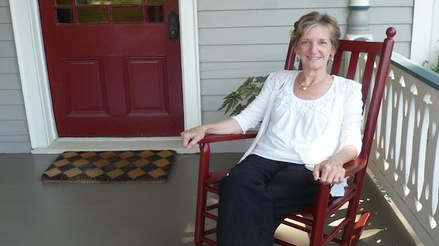 Debbie Franklin on her front porch in Hyattsville, Md.