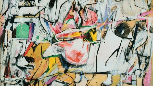 Willem De Kooning, Asheville, 1948. Oil and enamel on cardboard 25 9/16 x 31 7/8 in. The Phillips Collection, Washington, D.C., Acquired 1952 © 2014 The Willem de Kooning Foundation / Artists Rights Society (ARS), New York