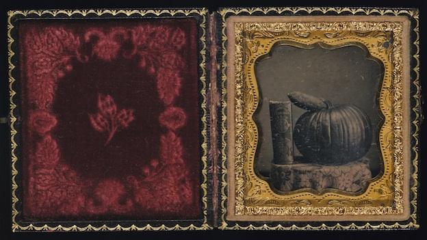 Unidentified, Still Life with Pumpkin, Book, and Sweet Potato, about 1855, daguerreotype with applied color, Smithsonian American Art Museum, Museum purchase from the Charles Isaacs Collection made possible in part by the Luisita L. and Franz H. Denghausen Endowment