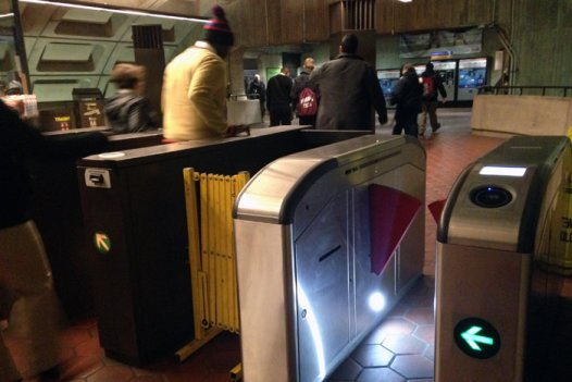New fare gates were only available in 10 rail stations, including Gallery Place-Chinatown, pictured.