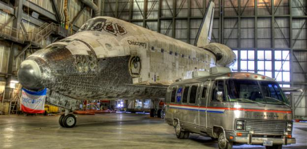 Space Shuttle Discovery, ready to ship to the Smithsonian on Tuesday, with low 1,500 ft. flight over Washington D.C.