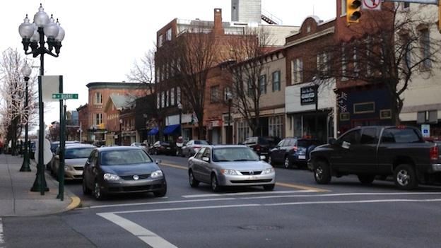 The historic downtown of Martinsburg, W.V. hosts a range of small businesses, though some storefronts remain vacant.