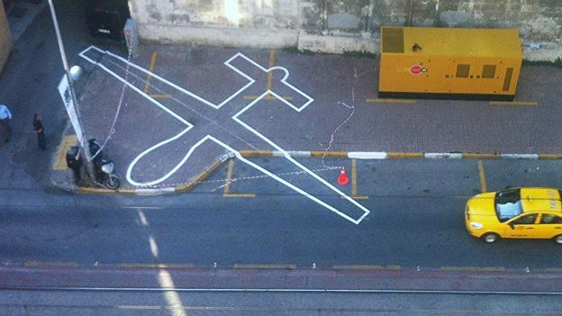 "One aspect of A Quiet Disposition features an outdoor installation of the outline or ""shadow"" of a drone. Pictured here is the artist's execution of ""Drone Shadow"" in Istanbul."
