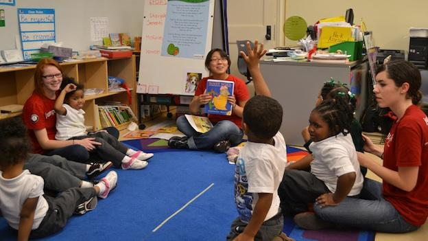Students from George Washington University practice language, literacy and math skills with pre-schoolers at Neval Thomas Elementary as part of Jumpstart DC's partnership with the D.C. Promise Neighborhood Initiative.