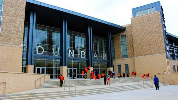 The new Dunbar High School building opens to students today.