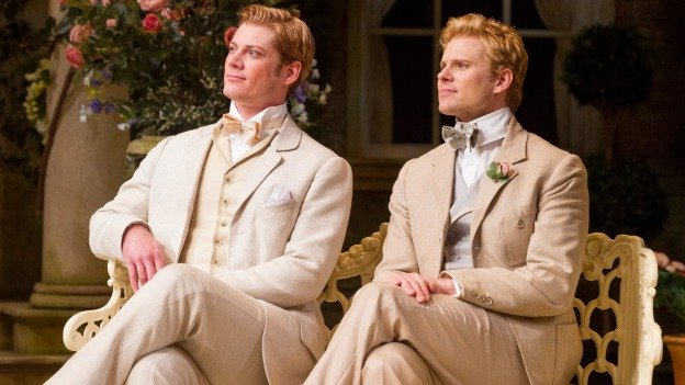 Gregory Wooddell (Jack) and Anthony Roach (Algernon) in the Shakespeare Theatre Company's production of The Importance of Being Earnest, directed by Keith Baxter.