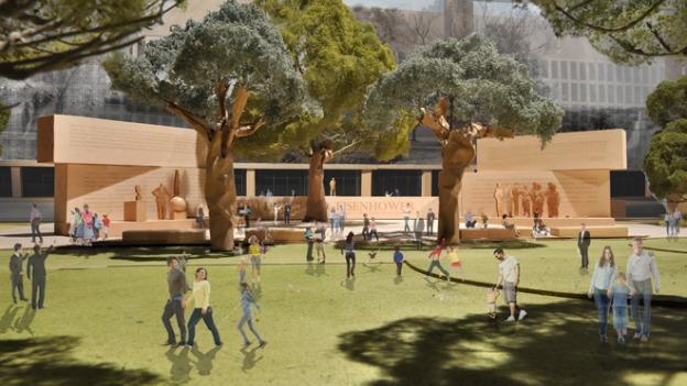 The Eisenhower Memorial will feature a statue of the 34th president and 80-foot-tall metal tapestries bearing images of his childhood home.