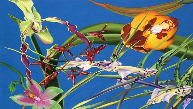 """Enter the Orchids"" demonstrates the bright, vibrant colors used in Jennifer Brewer Stone's oil paintings of tropical flora and fauna."