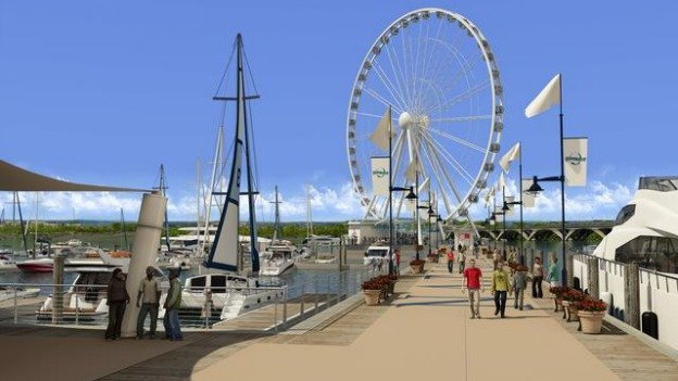 The 175-foot-tall ferris wheel will offer views of the Washington skyline.