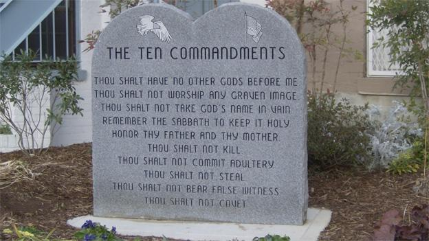 The depiction of the ten commandments is on 2nd Street NE, within view of the Supreme Court.