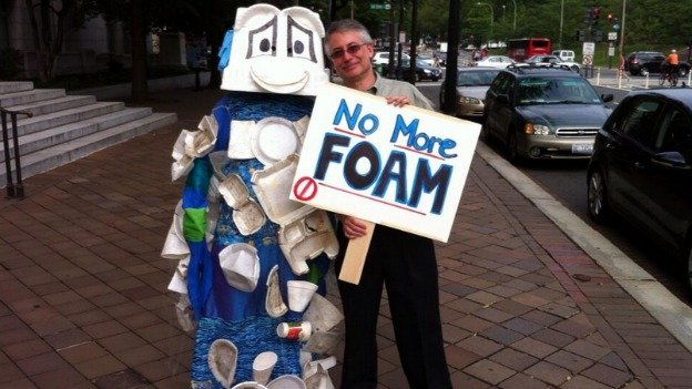 Proponents of the Styrofoam ban demonstrated outside the Wilson Building on Monday.