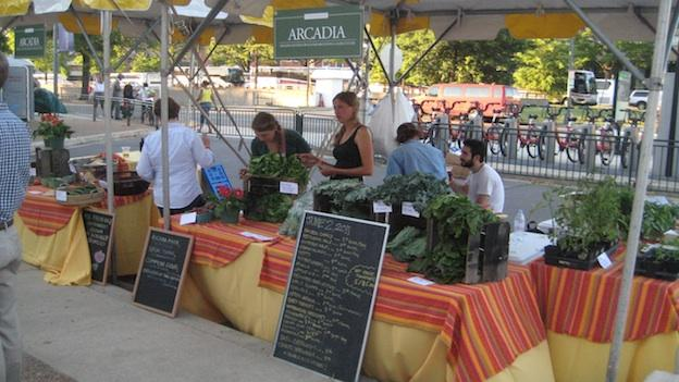 Fresh lettuce sits atop the Arcadia Food table at the inaugural festivities of a Farmers Market in Southwest D.C.