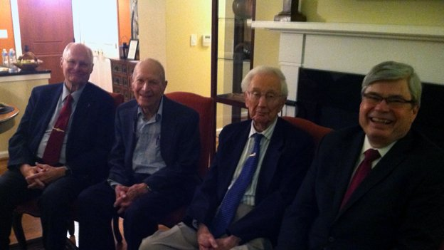 "Ambassador Bill Harrop, left, Jack Frankel and Ambassador George Landau help coordinate the monthly Fox Hill Foreign Affairs Discussion Group. October's talk on ""commercial diplomacy"" was given by Ambassador Chuck Ford, right."