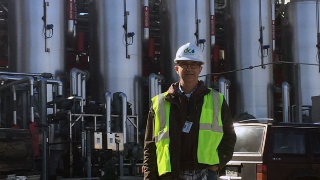 DC Water's Chris Peot standing in front of the world's largest power generating thermal hydrolysis digester in Blue Plains.