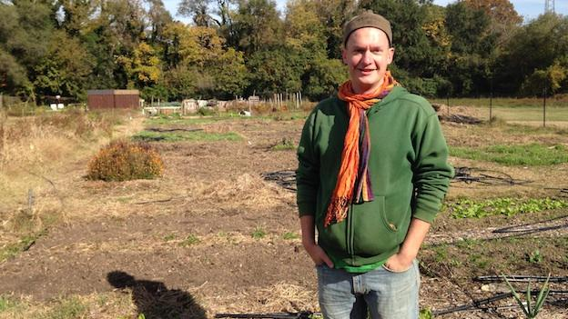 David Quick of the Neighborhood Farm Initiative at Mamie D. Lee Community Garden.