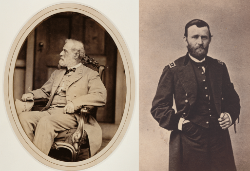 Civil War generals Robert E. Lee (left) and Ulysses S. Grant (right) are in the spotlight in a new exhibit at the National Portrait Gallery.