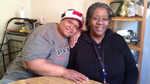 Grace McMillan, left, and her mother, Saundra Walker, both struggled in school, and then dropped out when they became pregnant. Now, decades later, they're attending classes together to try to get their GED diplomas.