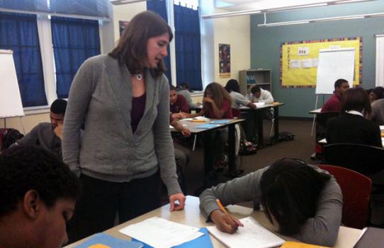 High school teacher Shira Fishman with math students in a D.C. Public School.