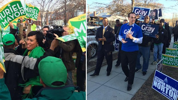 Muriel Bowser and Mayor Vincent Gray narrowly missed each other at Precinct 65 in Ward 4 this morning.