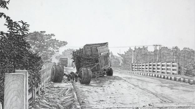 Highway features 40 pencil drawings by artist Gregory Thielker, including 1226 km (2011), a depiction of India's Grand Trunk Road.