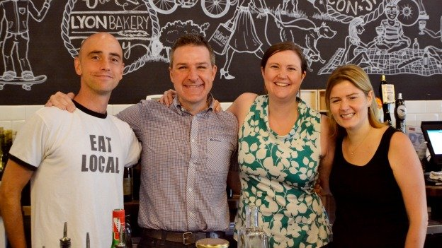 Caesar Layton (left) helped found Cultivate Ventures to help entrepreneurs in D.C.'s food industry. His first clients include Sona's Conan and Gen O'Sullivan (middle), and Ali Cherry (far right) of Snack Packers.