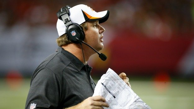 Cincinnati Bengals Offensive Coordinator Jay Gruden calls in a play during a game against the Atlanta Falcons at the Georgia Dome in Atlanta, Thursday August 8, 2013.