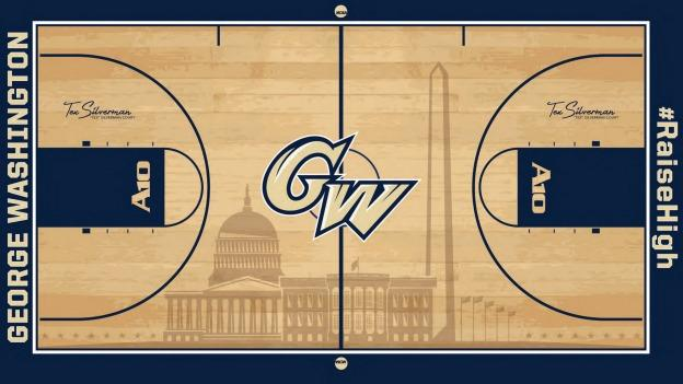George Washington University's basketball and volleyball teams will soon play on a court featuring images of the White House, U.S. Capitol and Washington Monument.
