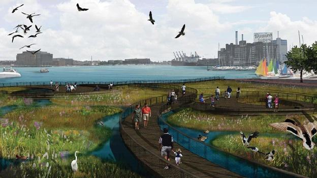 Shown here, is a mock-up of the proposed floating wetlands plan for the Baltimore National Harbor.