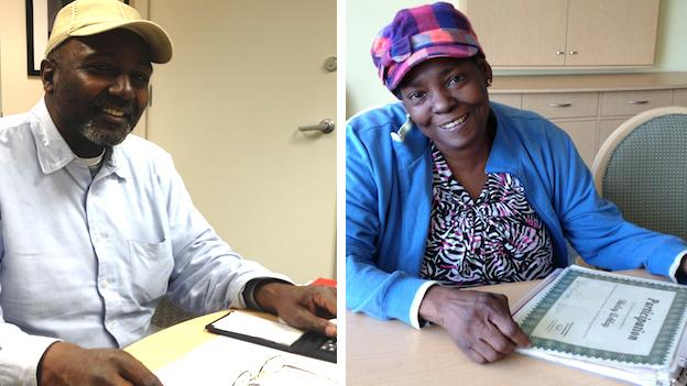 Earnest Robertson (left) and Shirley Ashley take classes at Literacy Volunteer and Advocates in southeast D.C. to improve their reading and math skills.